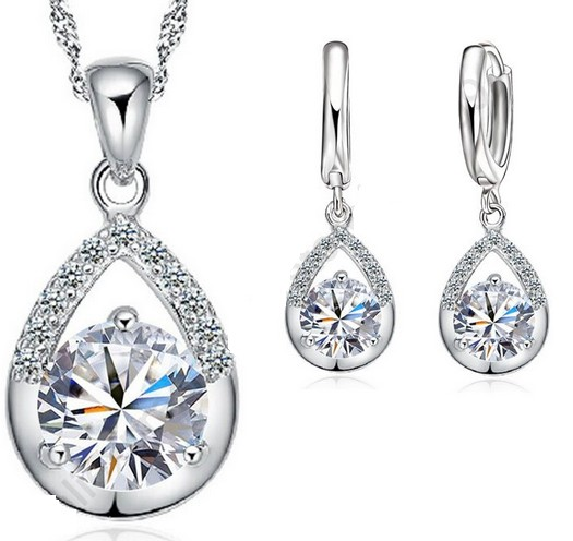 Souprava šperků (náhrdelník a náušnice) TEAR bílá
