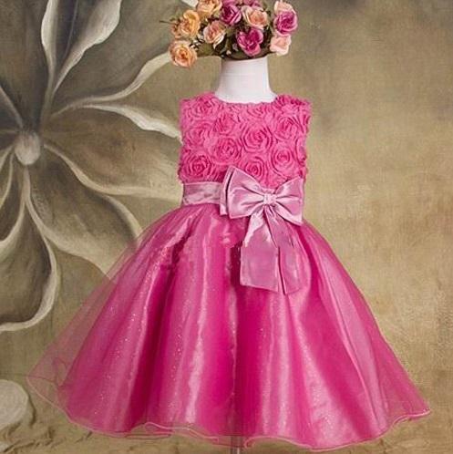 Společenské dětské šaty 2 malinové