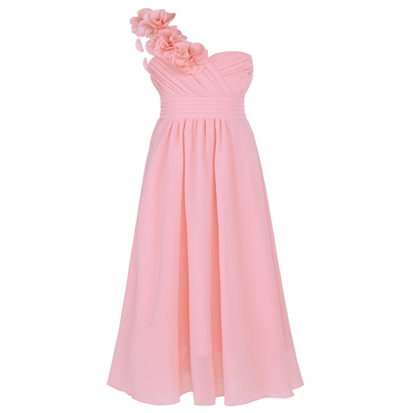Dívčí společenské šaty přes rameno-růžové