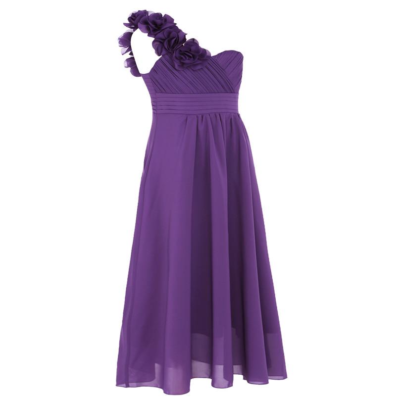 Dívčí společenské šaty přes rameno - fialové