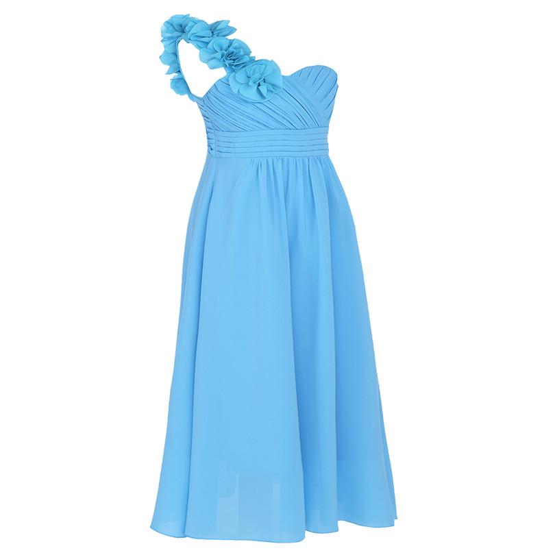 Dívčí společenské šaty přes rameno - světle modré