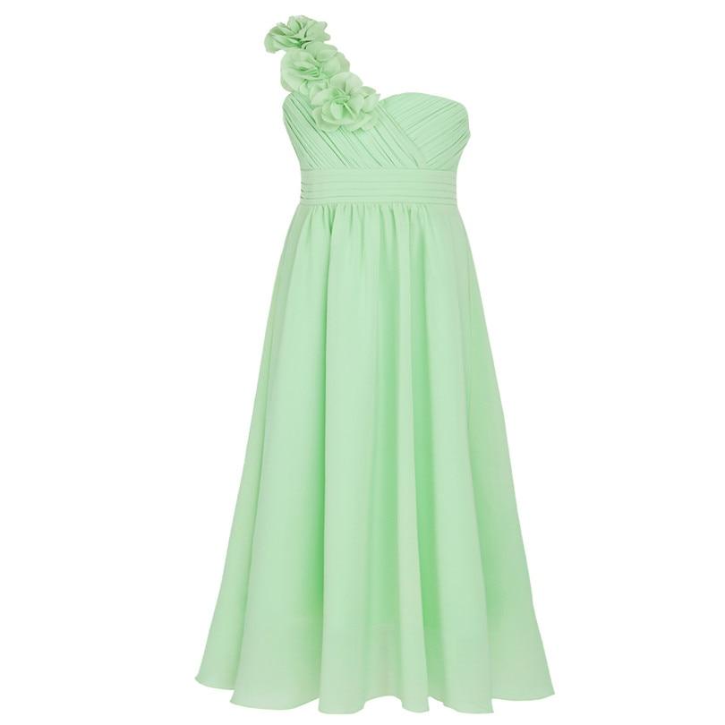 Dívčí společenské šaty přes rameno - zelenkavé