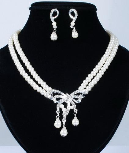 Souprava perlových šperků (náušnice a náhrdelník) RIBBON 2, svatební