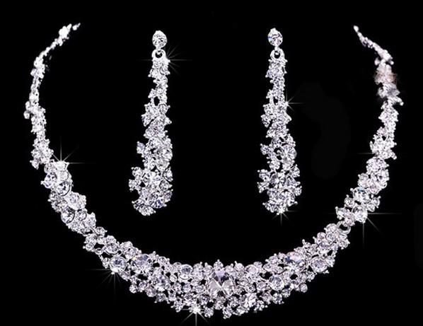Souprava šperků (náušnice a náhrdelník) RHINESTONE, svatební