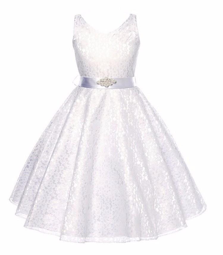 Dětské společenské krajkové šaty - bíle d9fac6f4da