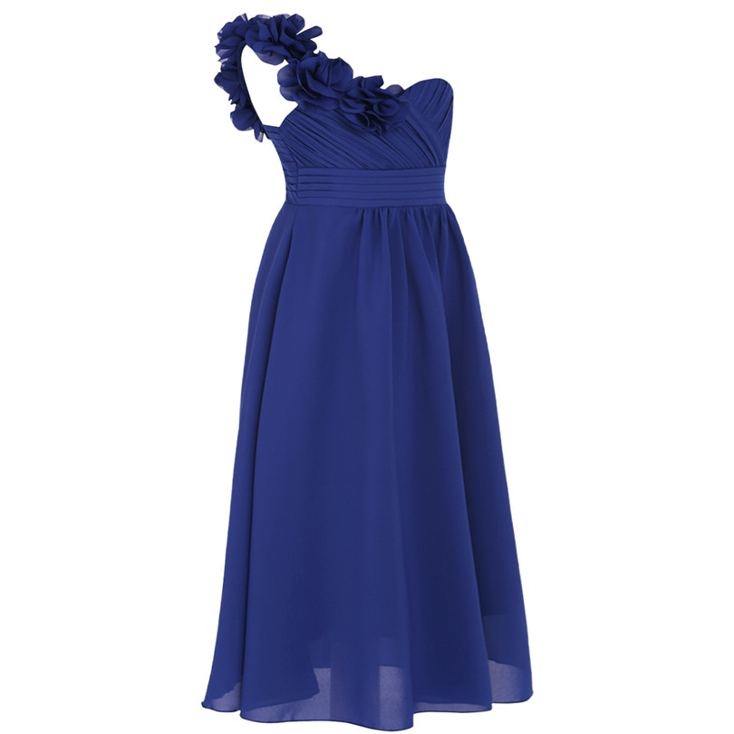 Dívčí společenské šaty přes rameno - tmavě modré  66079f2582